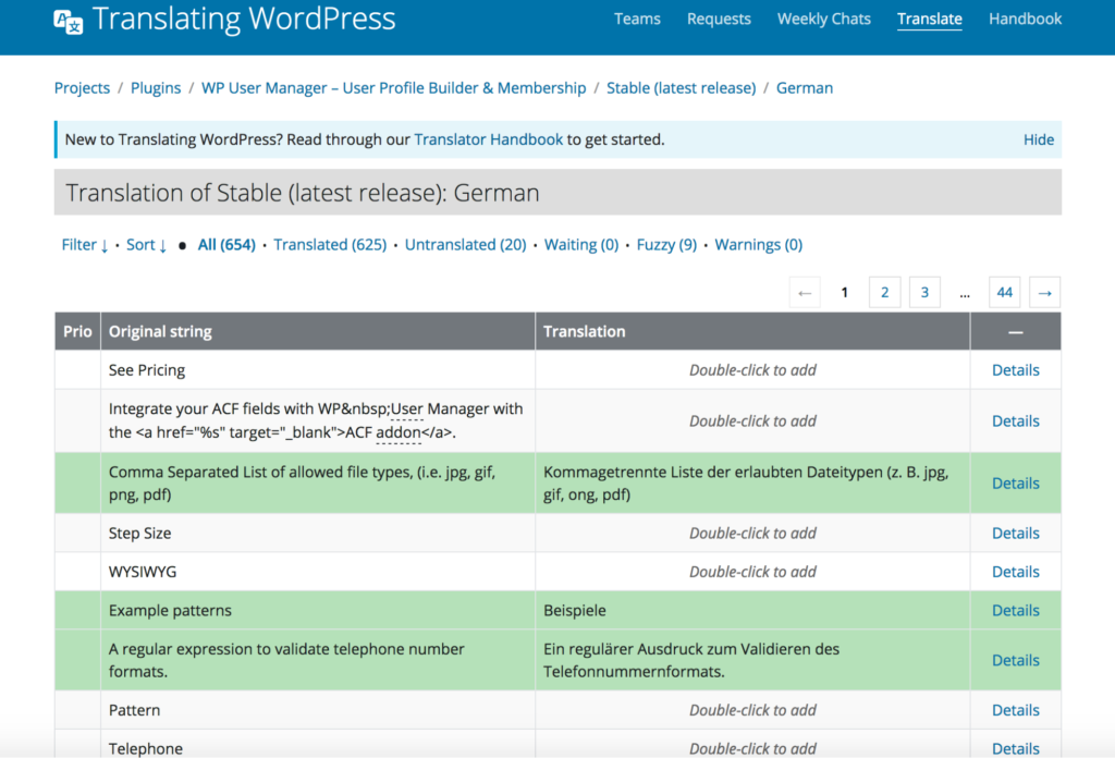 View translation strings table for a WordPress plugin