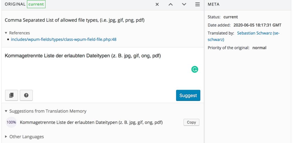 Add translation string to WordPress plugin