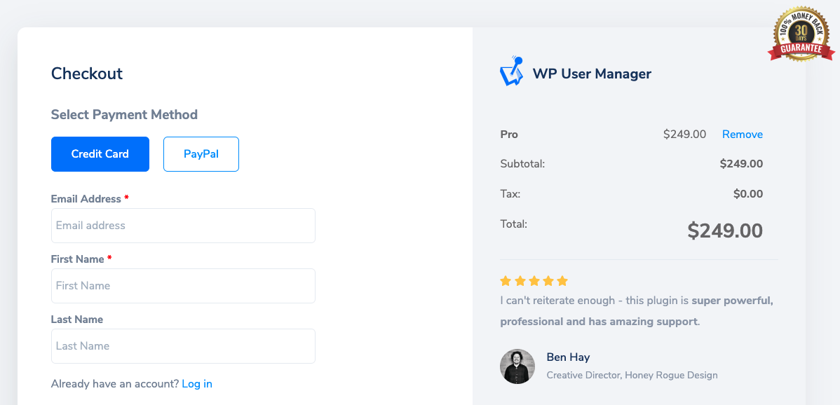 WP User Manager checkout page with testimonial