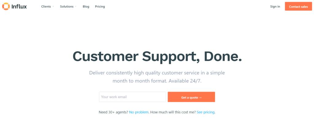 Influx WordPress support banner